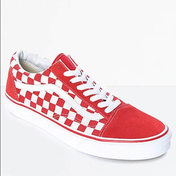 Vans Shoes Red Checkered Old Skool Poshmark